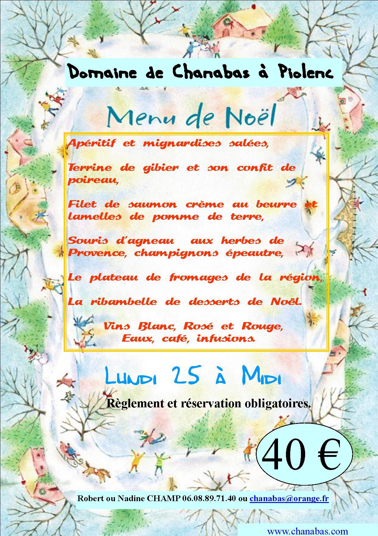 Affiche menu noel 17